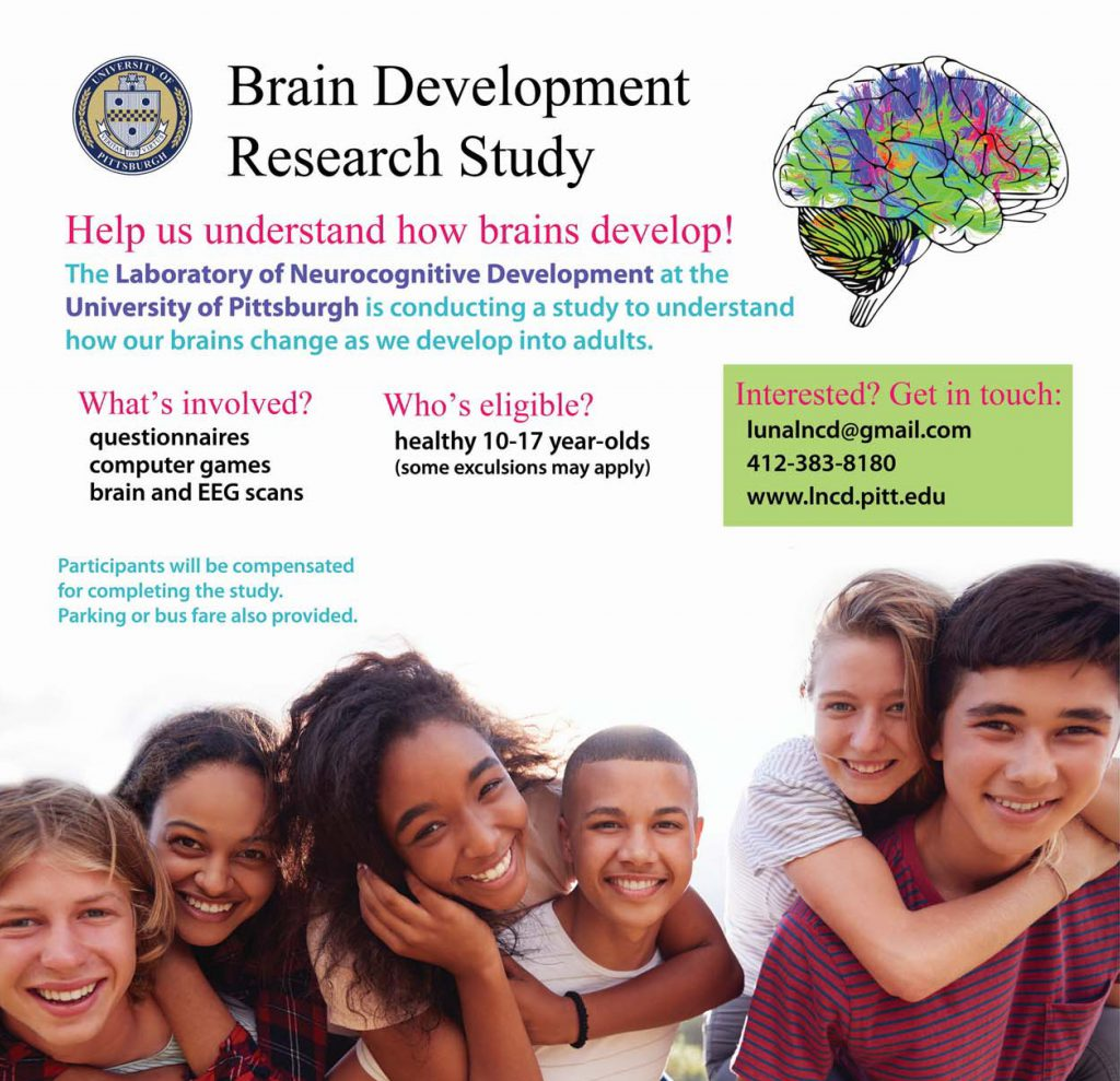 flyer for brain study featuring a group of teens with text stating that our lab is seeking healthy participants ages 10-17 to participate in a brain study involving questionnaires, computer games, and brain and EEG scans. Participants will be compensated for completing the study, Bus fare or parking is provided. There are participation instructions - to learn more click to following button.